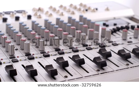 Closeup of mixing console