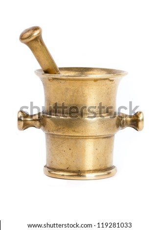 closeup of old bronze mortar with pestle isolated on white background
