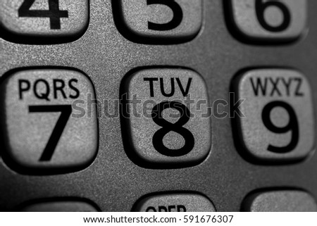 Closeup Cordless Phone Numbers Letters Stock