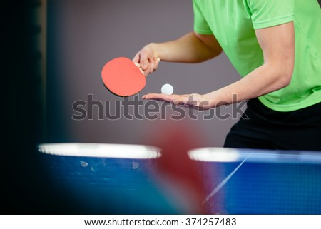 Closeup of ping pong, table tennis players