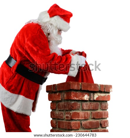 Closeup of Santa Claus placing his bag of toys into a chimney. Vertical format over a white background.