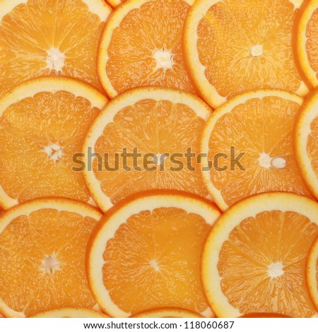 Closeup of sliced fresh oranges with copy space