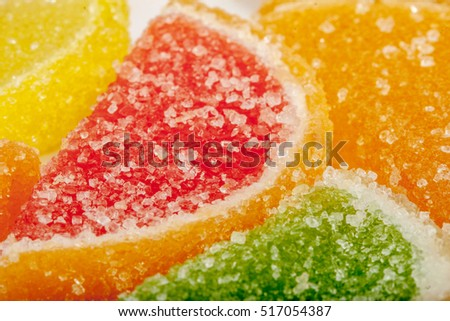 Closeup of sweet colorful fruit candies. Selective focus