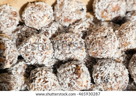 Closeup of sweet Indian coconut burfi treats with selective focus