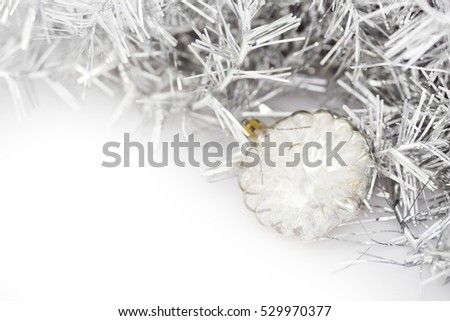 Closeup of transparent Christmas balls and on white background