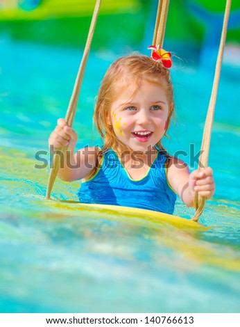 In poolside summer vacation happy childhood concept stock photo