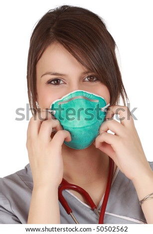 closeup on cute nurse wearing a mask, white background