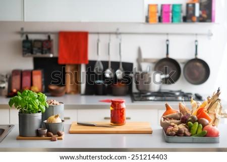 kitchen counter all setup start baking stock photo 90095263