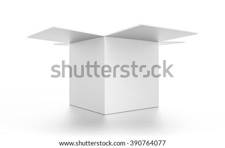 Closeup open white cube blank box isolated on white background.