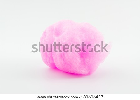 Closeup pink spun sugar on white background, Cotton Candy.