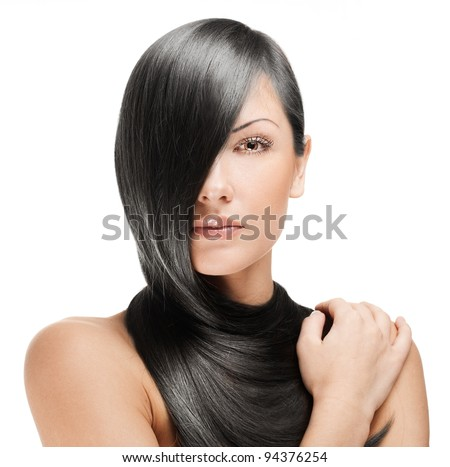 closeup portrait of a beautiful young woman with elegant long shiny hair , hairstyle , isolated on white background