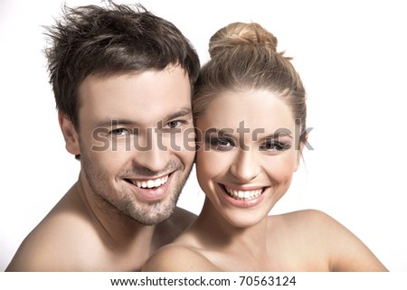 Closeup portrait of a happy young couple