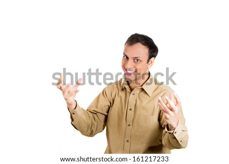 Closeup portrait of guy in brown shirt gesturing with his hands and face that he has done a lot of work and you are not appreciative of him, isolated on white background with copy space