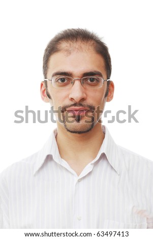 Closeup portrait of handsome young adult man in glasses with cool goatee beard and mustache, on white background