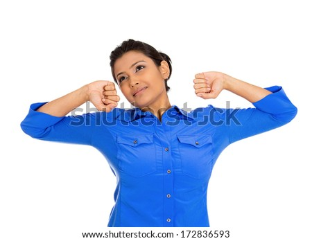 Closeup portrait of pretty beautiful tired fatigued woman stretching extending arms, back, shoulders , yawning, isolated on white background. Positive emotion facial expression feeling