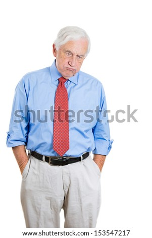 Closeup portrait of senior mature, elderly man very sad and frustrated by something, isolated on white background