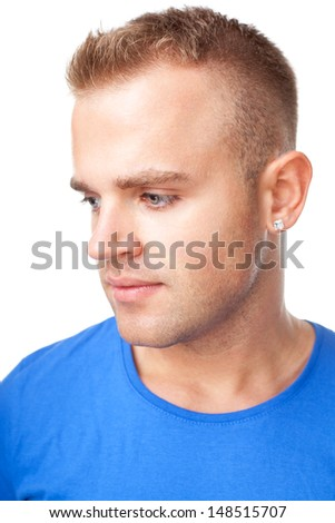 Closeup portrait of serious pensive young man isolated on white background