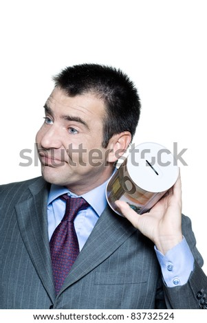 Closeup portrait of sullen  businessman with an empty  money box in studio on isolated white background