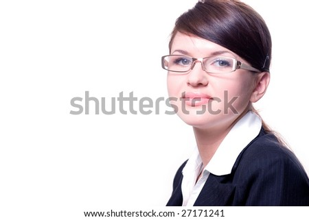 closeup portrait of the woman in glasses
