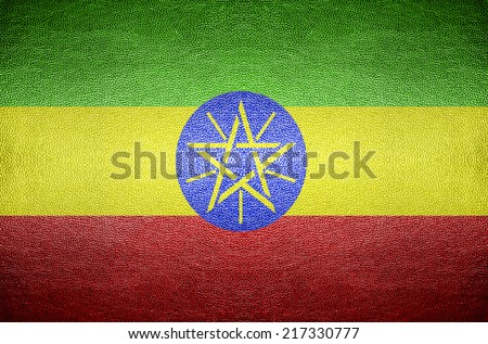 closeup Screen Ethiopia flag concept on PVC leather for background