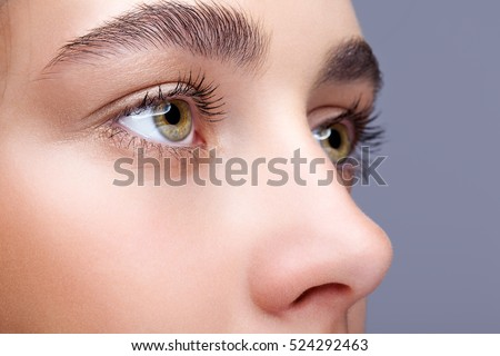 Closeup shot of female face makeup