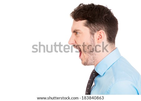 Closeup Side View Profile Portrait Angry Stock Photo ...