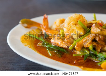Closeup stir fried shrimp with spicy sauce