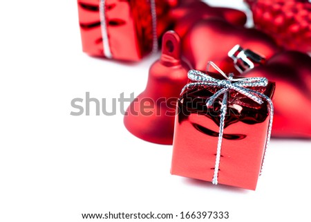 Closeup view of vibrant red christmas decorations