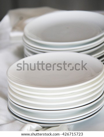 closeup white dish background