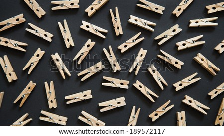 Closeup wood clip (clipping path) pattern in black background