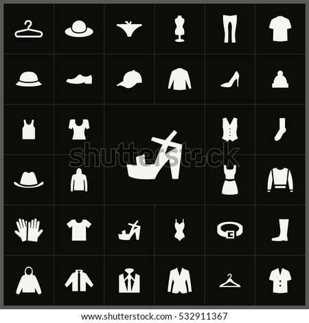clothes icons universal set for web and mobile