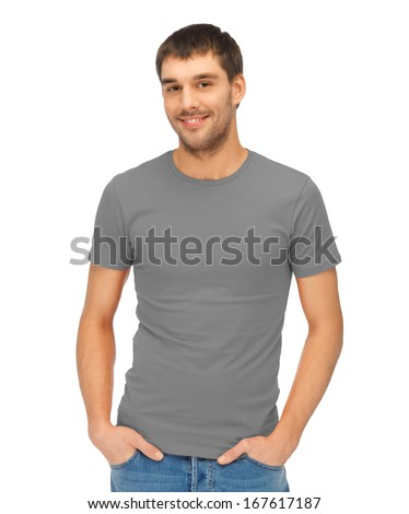 clothing design concept - handsome man in blank grey t-shirt