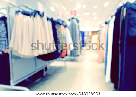 Clothing Store blur background with bokeh.