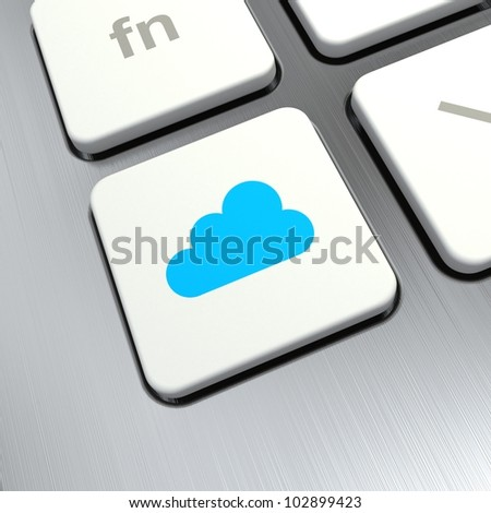 cloud computing button on computer keyboard
