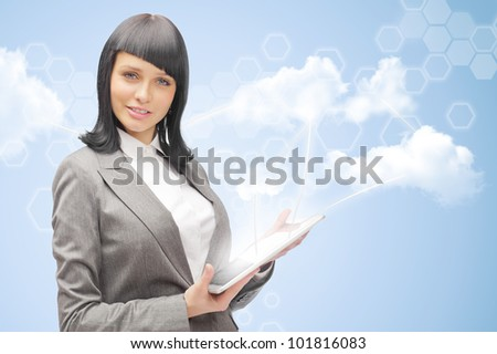 Cloud computing concept and business network. Businesswoman works with cloud computer