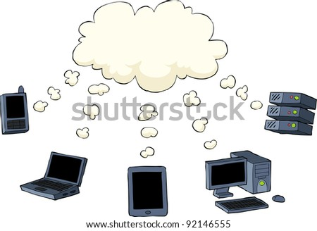 Cloud computing is on a white background,  raster
