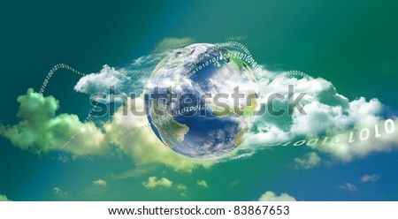 Cloud computing technology with great colors in panoramic view