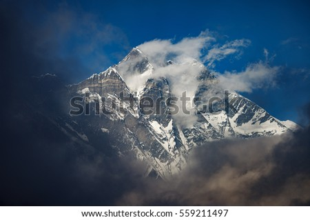 Clouds fly off the top of Mt Lhotse (8501m),Khumbu region,Nepal