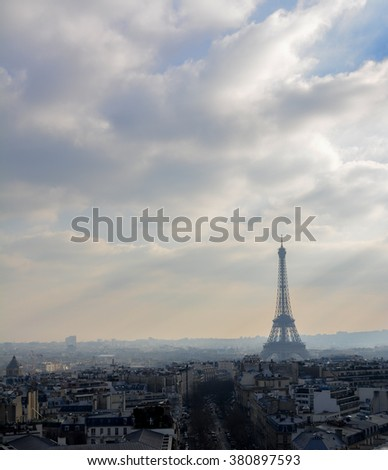 Clouds over Paris and the Eiffel tower