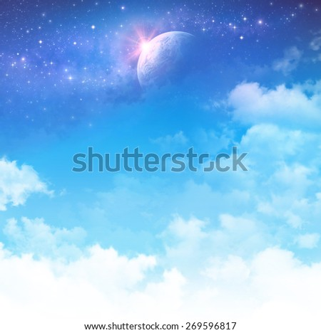 Cloudscape fantasy. Cloudy sky background, star field and planet in deep space.