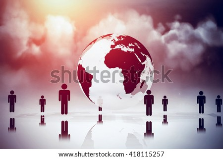 Cloudy sky against human figures surrounding earth graphic