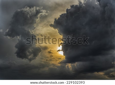 Cloudy stormy  dramatic sunset sky background