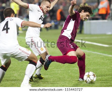 CLUJ-NAPOCA, ROMANIA - OCTOBER 2: Cleverley and Aguirregaray in UEFA Champions League match, CFR 1907 Cluj vs Manchester United,  on 2 Oct., 2012 in Cluj-Napoca, Romania