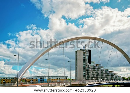 Clyde Arc over Clyde River in Glasgow. Glasgow is the city in the Lowlands in Scotland in the United Kingdom.