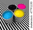cmyk color paint background and 3d metal can - stock photo