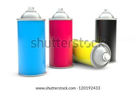 CMYK Paint spray cans isolated with clipping path