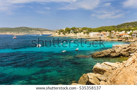 Coast sea view beach Sant Elm and view on Dragonera. Majorca island, Spain