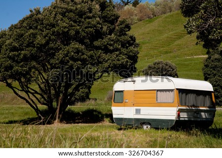 coastal camping, beach side caravans, summer freedom camping, Pouawa Beach, Gisborne, East Coast, North Island, New Zealand