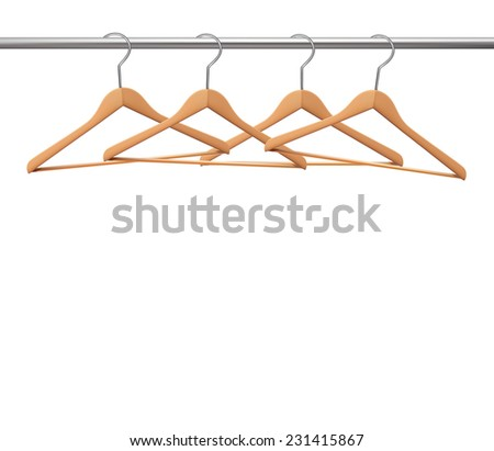 Coat hangers on a clothes rail.