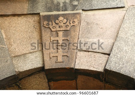 coat of arms emblem Danzig Gdansk in Poland stone background
